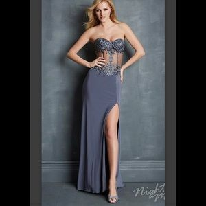 Night Moves 7074 Jersey Gown with Sheer Bustier